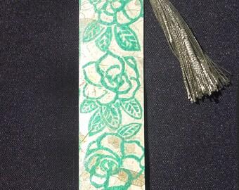 Gardenias Handprinted Bookmark Is Printed on Thai Banana Paper!