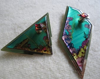 Jon Allen Signed Brooches - Matched Pair of Sea Life Pins by Metal Artist