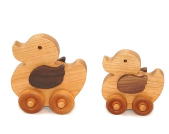 Duck Toy Family, Duck Family Toy, Wooden Duck Family, Duck Family Car Set, Wooden Duck Car, Wooden Toy Car, Wooden Toddler Toy