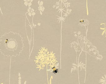 Studio E Save Our Bees - DT-K Signature - Gray Flower Outlines - Quilting Fabric by the Yard - Bee Fabric - Insect Fabric - Dandelion Fabric