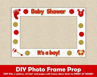 Baby shower photo frame prop Boy Red. Printable. DIY picture frame prop. Selfie station red and gold baby shower prop. Instant download. PDF