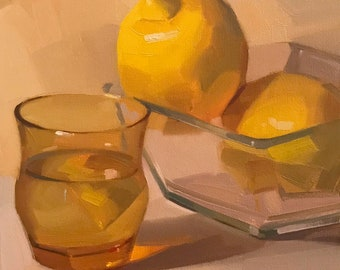 "Art painting still life by Sarah Sedwick ""Lemons in Glass"" 8x8 oil on canvas"