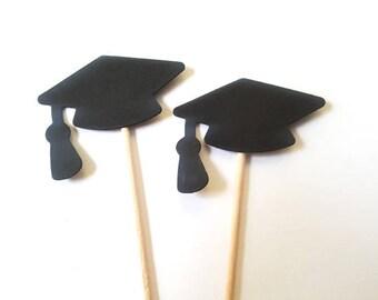 Set of 24Pcs - Graduation Cupcake Toppers, Food Picks, Party Picks