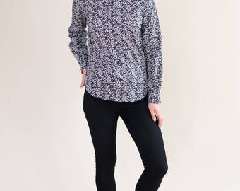 Floral long sleeved shirt with round collar