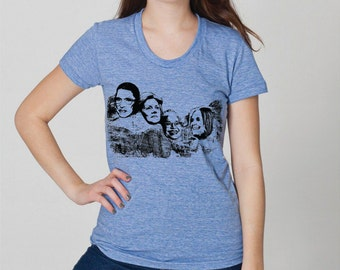 Great American women on Mt Rushmore, womens Bella athletic blue- S, M, L,XL- WorldWide shipping