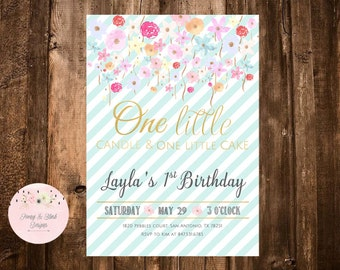 First Birthday Invitation Girl, 1st Birthday Invitation, Birthday Invite, Pink and Blush, Blush Pink, Gold Glitter, One little Candle Invite