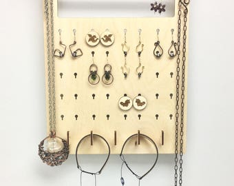 Wall mounted earring and necklace storage hanging jewelry storage wood