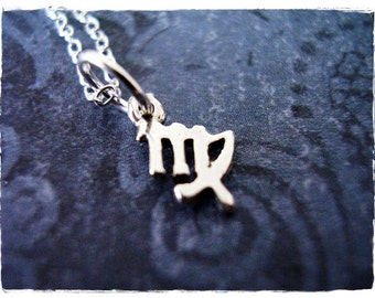 Tiny Virgo Zodiac Sign Necklace - Sterling Silver Virgo Charm on a Delicate Sterling Silver Cable Chain or Charm Only