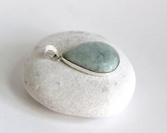 Teardrop Pendant-Guatemalan Jade, Mint Green, Sterling Silver
