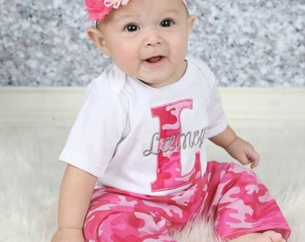 Personalized baby girl coming home outfit newborn girl take baby girl personalized baby girl clothes newborn girl take home outfit pink camo bodysuit with pants negle Gallery