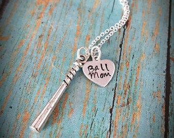 Ball Mom - Baseball Mom Necklace - Baseball - Sports - Sports Jewelry - Softball - Women's Jewelry - Baseball Fan - Team Sports - Mom