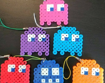 Pac Man Ghost Perler Charm Keychain Multicolor Set of 6