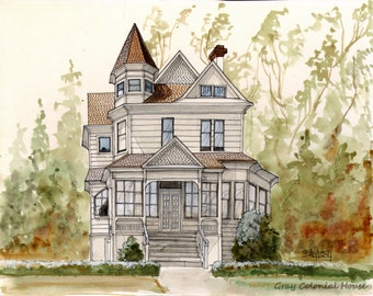 Giclee Print of Original Watercolor Painting with Pen & Ink Detail of Gray Colonial House