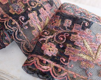 Antique French Art deco silk embroidered metallic gold ribbon trim pink, black and orange, Tambour lace, vintage .