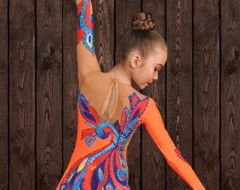 Zoe Orange Performance Costume (10) , Rhythmic Gymnastics, Ice Skating, Acrobatics, Dancing