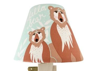 Woodland Bears  Night Light-Baby Boy-Mint Night Light-Nursery Night Light-Art Gallery - Oh, Hello Meadow-Boy room-Wall Decor-Bears Decor