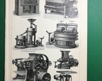 Chocolate Fabrication, original old print from an old german book, 1895