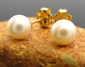 pearl earrings studs - White pearl earrings, pearl stud earrings, pearl earrings, pearl earrings, pearl studs 6 - 6.5 mm - gold filled studs