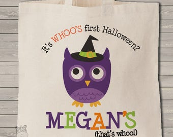 FIRST HALLOWEEN OWL bag trick or treat bag perfect to use as a halloween bag to collect all the candy MBAG1-040