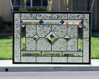 "Stained Glass Window Panel~""DIAMONDS""~Clear Stain Glass Window, Clear Stain Glass Panel, Clear Bevels, Beveled, Diamonds"