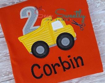 2nd Birthday Dump Truck Applique Design - Embroidery Machine Pattern - construction truck