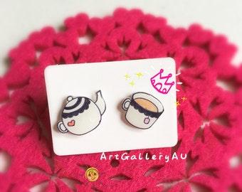 Kawaii Teapot and Teacup Earrings, Super Cute Tea Studs, Food Stud Earrings, Handmade Mismatched Studs, Gift for Her