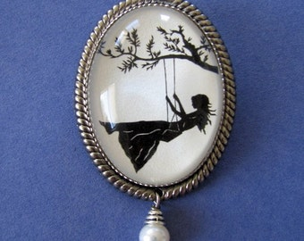 GIRL on a SWING Brooch - Silhouette Jewelry