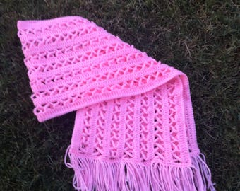 Breast cancer awareness shawl - Breast cancer month - accessory shawl - cancer survivor gift - pink ribbon - shawl wrap - crochet shawl