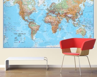 Political map of the world front sheet lamination home huge world wall map physical without flags gift home bedroom gumiabroncs Images