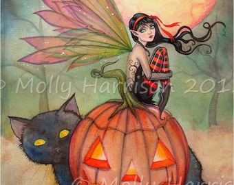 Halloween Pixie -  Fantasy Art Original Fairy Black Cat Halloween Archival Giclee Print 5 x 7