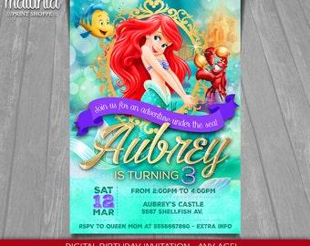 The Little Mermaid Invitation - Disney Ariel Invite - Little Mermaid Birthday Printed Invitation - Princess Ariel Birthday Party (LMIN02)