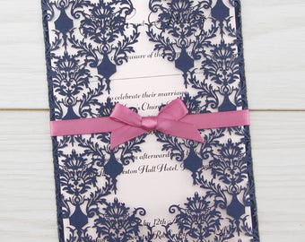 SAMPLE * Rosa Laser Cut with Satin Bow Wedding Invitation