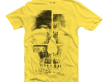 SKULL DIVIDED T-SHIRT-Yellow , Graphic Tshirts For Women, Graphic Tshirts For Men