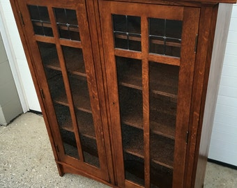 Mission bookcase etsy beautiful stickley solid oak mission arts and crafts bookcase 4575w58h17d leaded glass doors shipping is planetlyrics Choice Image