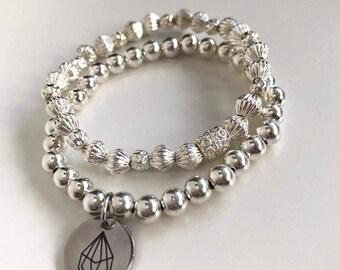 Sunstone Stacker | Silver Stacking Bracelets