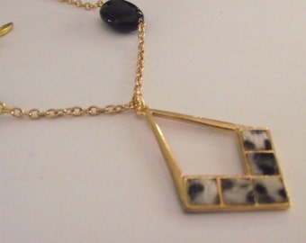 Black and Gold Beaded animal print charm necklace