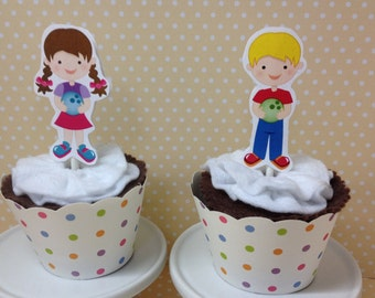 Bowling Party Cupcake Topper Decorations - Set of 10
