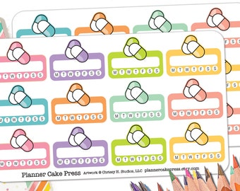 24 Weekly Pill Stickers | Pill Tracker Stickers | Vitamin Stickers | Medication Reminder | Medicine Planner Stickers  Fits Erin Condren More