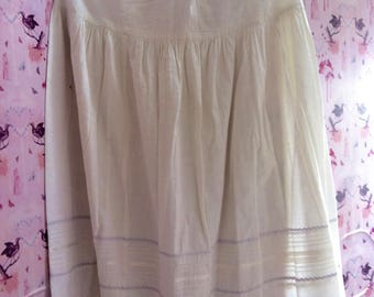 Victorian Antique petticoat or underskirt. A lovely off-white embroidered cotton underskirt,  adapted in the 70's by the lady who owned it.