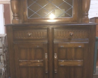 Tudor Brown Oak Court Cupboard with Glazed Doors - Wooden Oak