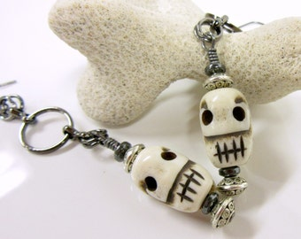 Skull Earrings, Primitive Skull Earrings, Tribal Skull Earrings, Halloween Earrings, Scary Halloween Skull Jewelry, Day of the Dead Earrings