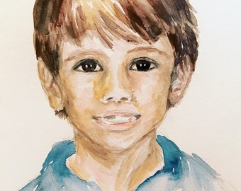 Custom Portrait from School Picture, Child Illustration,  Watercolor Illustration, Personalized Gift, Archival Quality 8x10