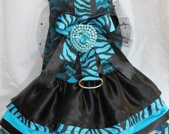 Dog Dress,Blue Dog Dress,Dog Harness Dress, Black & Blue Dress- Harness - Blueberry Tiger