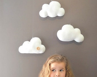 Mobile, hanging clouds, hand made felt mobile