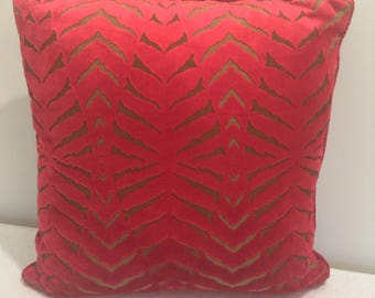Red cut velvet pillow, with complimentary back