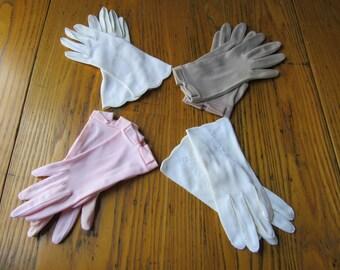 Vintage Dress Gloves, 4 Pair, White, Pink, Taupe, Cosplay, Tildy, Van Raalte, Size 7/8, Dress Gloves, Short Gloves, Dress Up, Retro Style