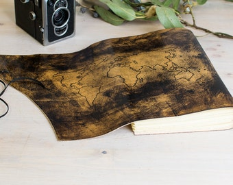 World map journal etsy travel notebook with world map gumiabroncs Choice Image