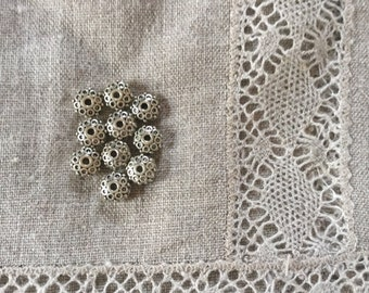 10Pcs. Spacer Beads. Antique Silver Color Textured Beads