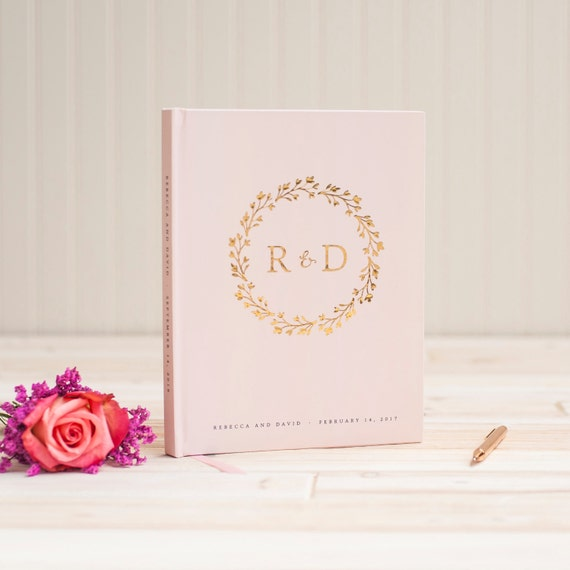 Wedding Guest Book Gold Foil wedding guestbook monogram wreath gold foil custom guest book book personalized instant photo booth book blush