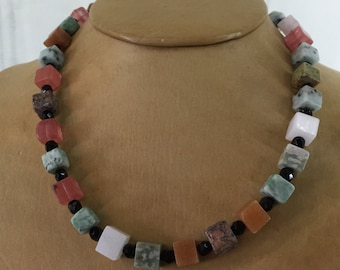 "Gemstone Bead Necklace, Cubes of Jasper and Quartz, Black Round Beads, Vintage 19"" Long"